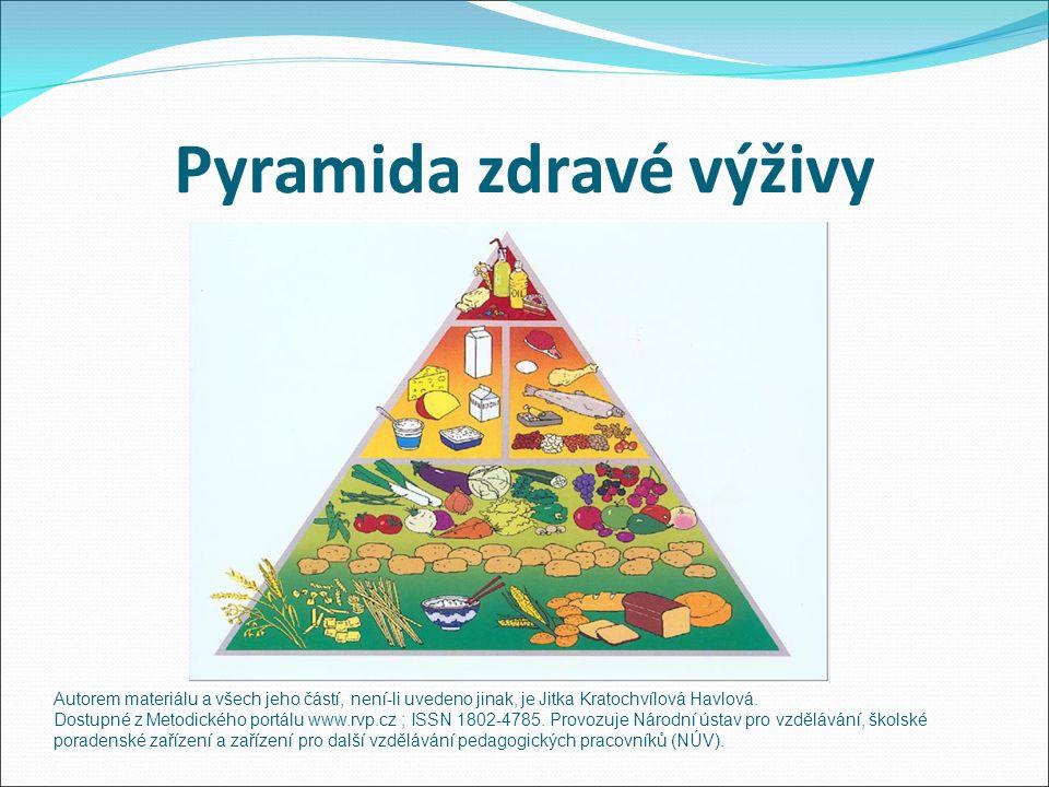 Pyramida zdravé výživy Autorem materiálu a všech jeho částí, není-li uvedeno jinak, je Jitka Kratochvílová Havlová.
