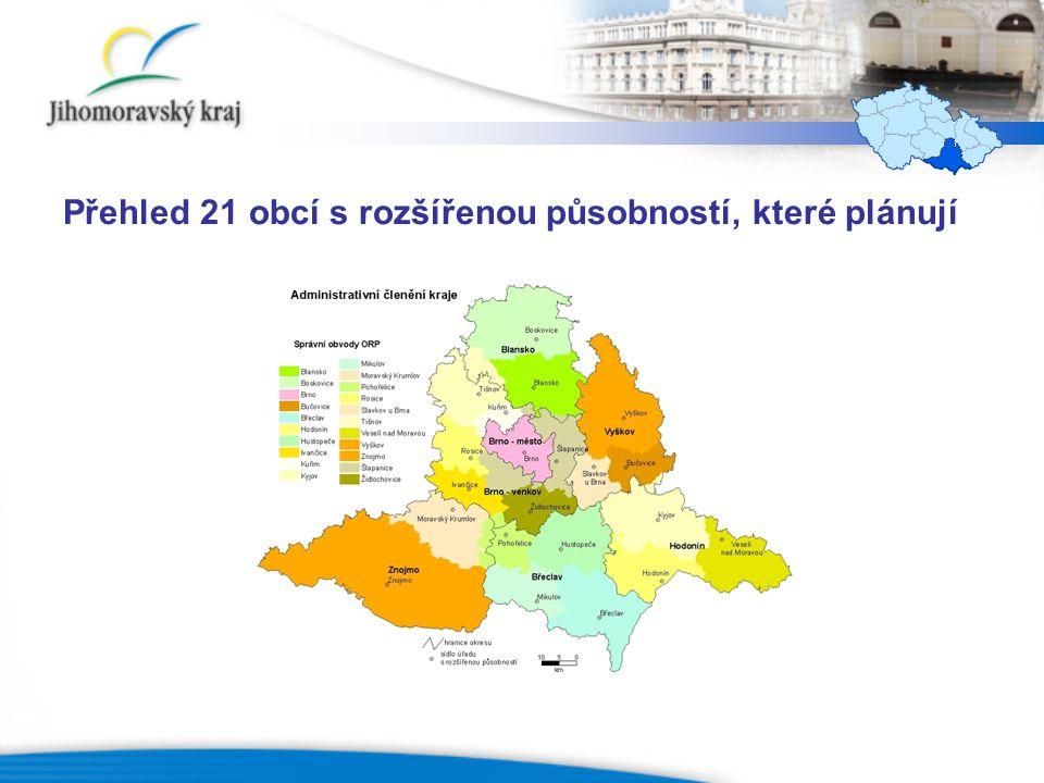 Přehled 21 obcí s rozšířenou působností, které plánují