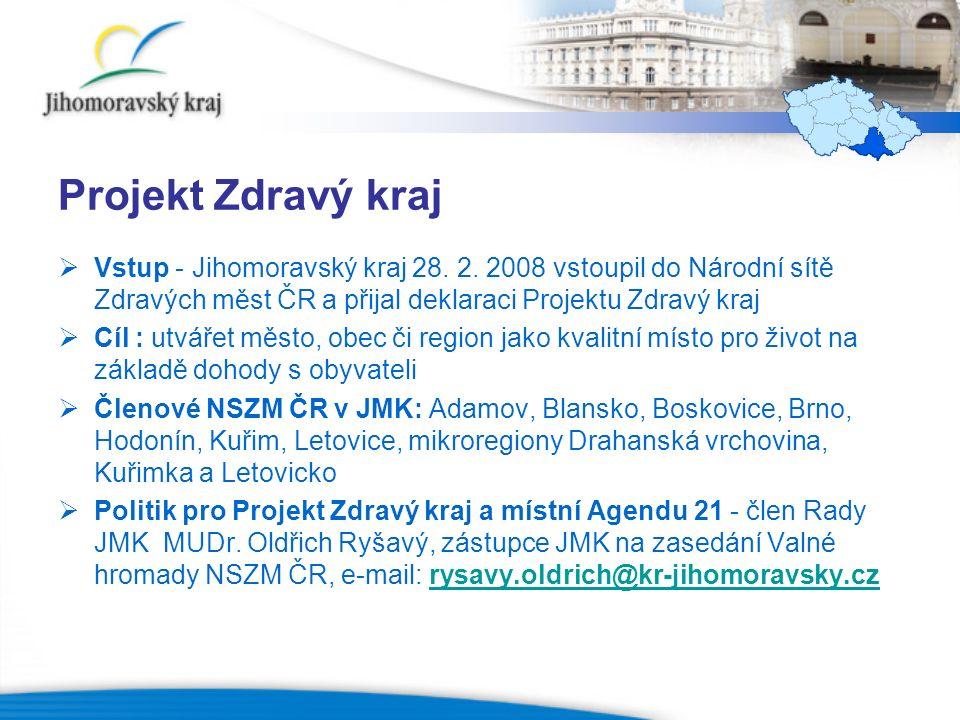Aktivity Projektu Zdravý kraj  1.setkání zdravých měst a mikroregionů v Jihomoravském kraji – 8.