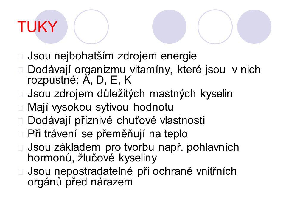 TUKY Jsou nejbohatším zdrojem energie Dodávají organizmu vitamíny, které jsou v nich rozpustné: A, D, E, K Jsou zdrojem důležitých mastných kyselin Ma