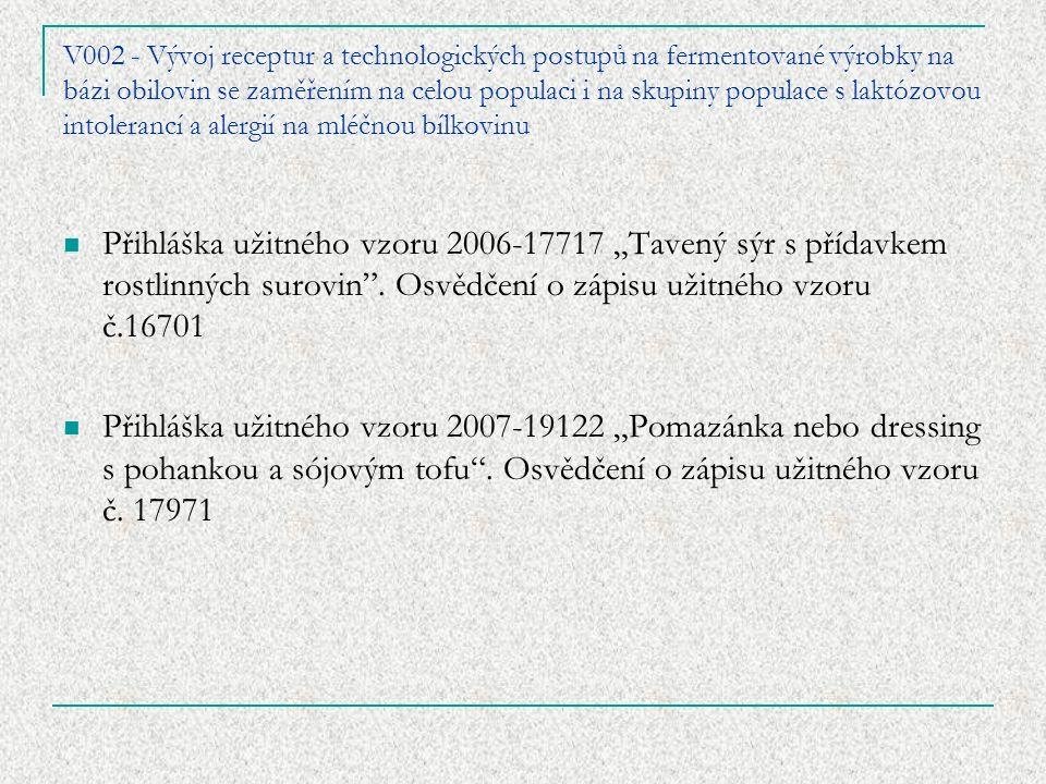 """V002 - Vývoj receptur a technologických postupů na fermentované výrobky na bázi obilovin se zaměřením na celou populaci i na skupiny populace s laktózovou intolerancí a alergií na mléčnou bílkovinu Přihláška užitného vzoru 2006-17717 """"Tavený sýr s přídavkem rostlinných surovin ."""