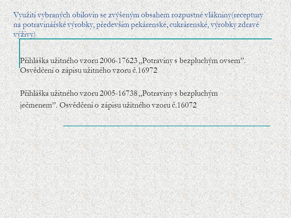 """Využití vybraných obilovin se zvýšeným obsahem rozpustné vlákniny(receptury na potravinářské výrobky, především pekárenské, cukrárenské, výrobky zdravé výživy) Přihláška užitného vzoru 2006-17623 """"Potraviny s bezpluchým ovsem ."""