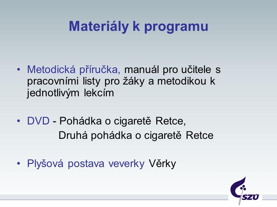 Materiály k programu Metodická příručka, manuál pro učitele s pracovními listy pro žáky a metodikou k jednotlivým lekcím -DVD - Pohádka o cigaretě Retce, Druhá pohádka o cigaretě Retce Plyšová postava veverky Věrky