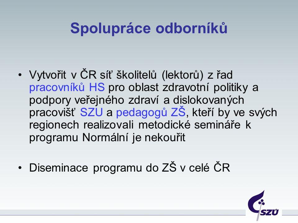 Spolupráce odborníků Vytvořit v ČR síť školitelů (lektorů) z řad pracovníků HS pro oblast zdravotní politiky a podpory veřejného zdraví a dislokovanýc