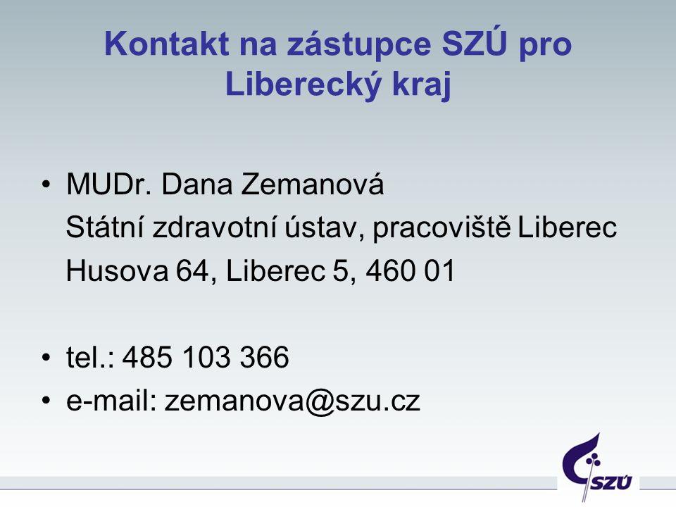 Kontakt na zástupce SZÚ pro Liberecký kraj MUDr.