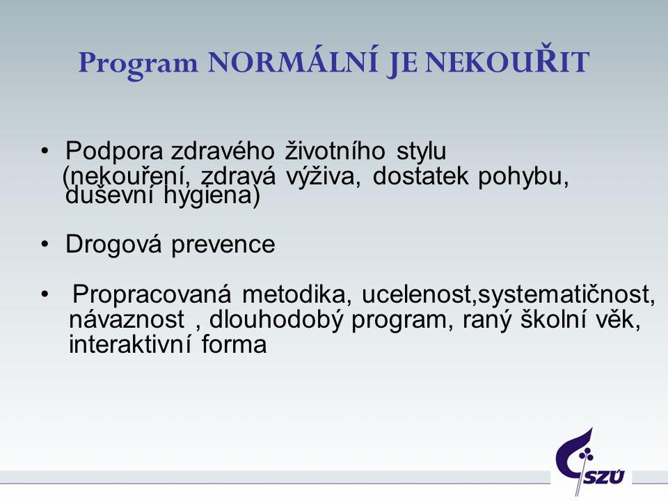 Program NORMÁLNÍ JE NEKOU Ř IT Podpora zdravého životního stylu (nekouření, zdravá výživa, dostatek pohybu, duševní hygiena) Drogová prevence Propraco