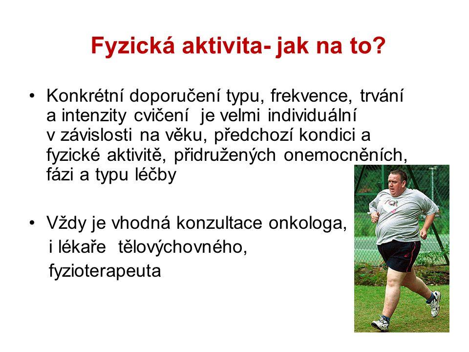Fyzická aktivita- jak na to? Konkrétní doporučení typu, frekvence, trvání a intenzity cvičení je velmi individuální v závislosti na věku, předchozí ko