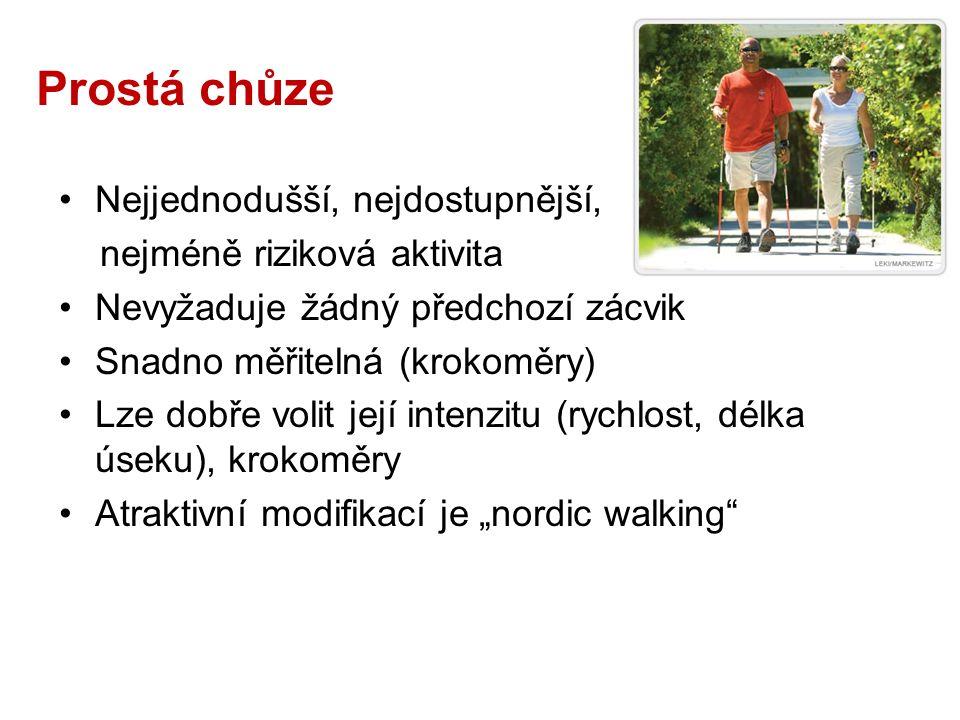"""Prostá chůze Nejjednodušší, nejdostupnější, nejméně riziková aktivita Nevyžaduje žádný předchozí zácvik Snadno měřitelná (krokoměry) Lze dobře volit její intenzitu (rychlost, délka úseku), krokoměry Atraktivní modifikací je """"nordic walking"""