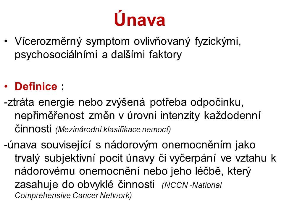 Únava Vícerozměrný symptom ovlivňovaný fyzickými, psychosociálními a dalšími faktory Definice : -ztráta energie nebo zvýšená potřeba odpočinku, nepřiměřenost změn v úrovni intenzity každodenní činnosti (Mezinárodní klasifikace nemocí) -únava související s nádorovým onemocněním jako trvalý subjektivní pocit únavy či vyčerpání ve vztahu k nádorovému onemocnění nebo jeho léčbě, který zasahuje do obvyklé činnosti (NCCN -National Comprehensive Cancer Network)