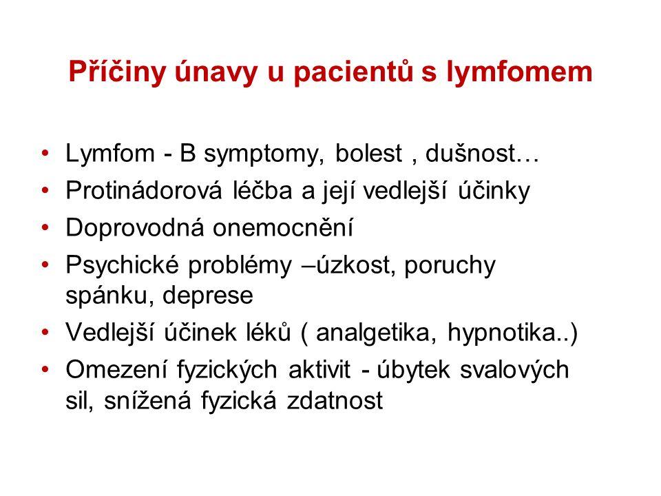 Příčiny únavy u pacientů s lymfomem Lymfom - B symptomy, bolest, dušnost… Protinádorová léčba a její vedlejší účinky Doprovodná onemocnění Psychické problémy –úzkost, poruchy spánku, deprese Vedlejší účinek léků ( analgetika, hypnotika..) Omezení fyzických aktivit - úbytek svalových sil, snížená fyzická zdatnost