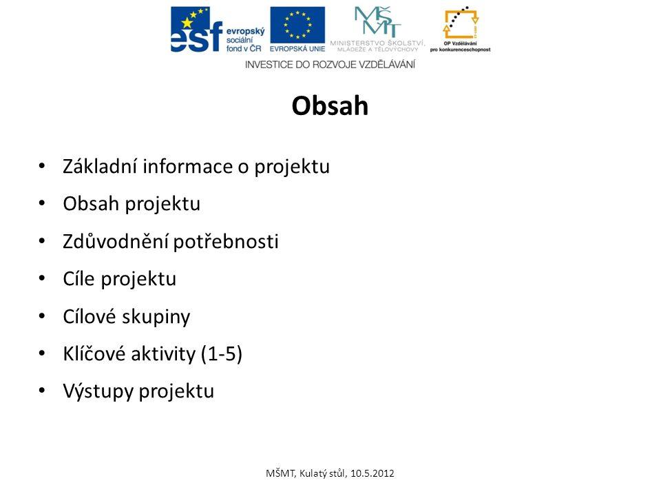 Obsah Základní informace o projektu Obsah projektu Zdůvodnění potřebnosti Cíle projektu Cílové skupiny Klíčové aktivity (1-5) Výstupy projektu MŠMT, K