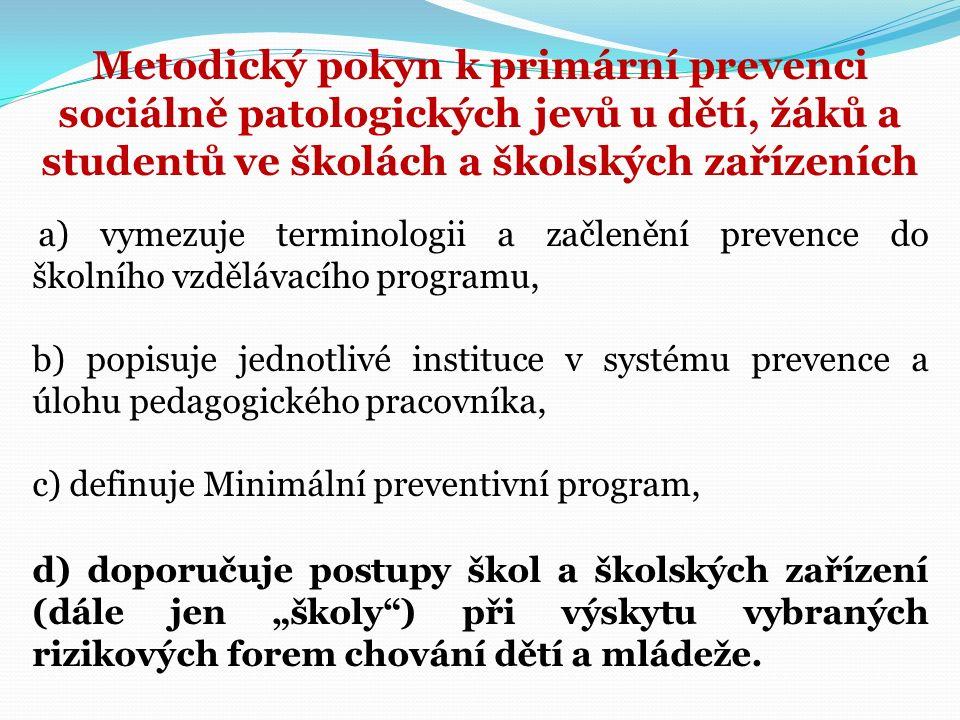 Metodický pokyn k primární prevenci sociálně patologických jevů u dětí, žáků a studentů ve školách a školských zařízeních a) vymezuje terminologii a z