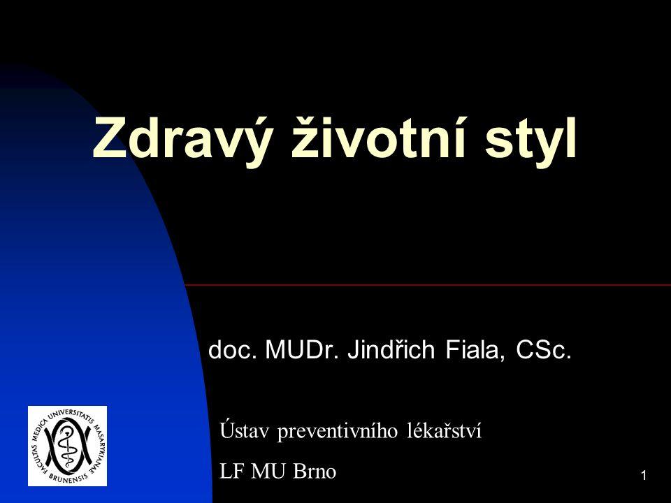 1 Zdravý životní styl doc. MUDr. Jindřich Fiala, CSc. Ústav preventivního lékařství LF MU Brno