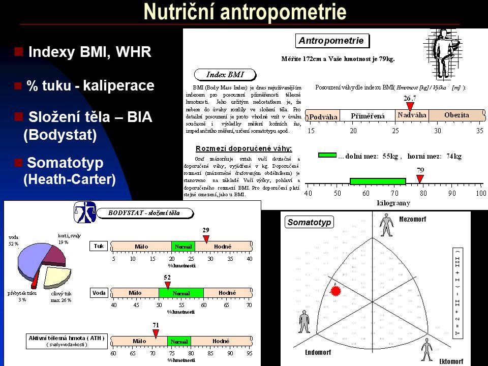 29 Nutriční antropometrie Indexy BMI, WHR Somatotyp (Heath-Carter) % tuku - kaliperace Složení těla – BIA (Bodystat) Somatotyp