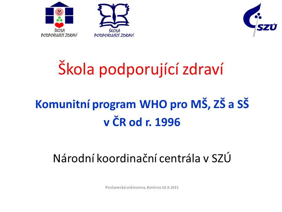 Škola podporující zdraví Komunitní program WHO pro MŠ, ZŠ a SŠ v ČR od r. 1996 Národní koordinační centrála v SZÚ Poslanecká sněmovna, Konírna 10.9.20