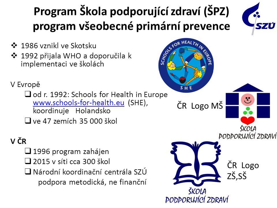 Program Škola podporující zdraví (ŠPZ) program všeobecné primární prevence  1986 vznikl ve Skotsku  1992 přijala WHO a doporučila k implementaci ve školách V Evropě  od r.