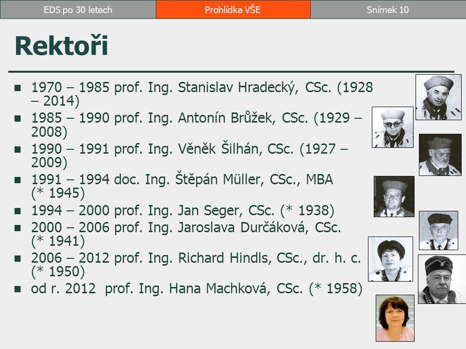 Rektoři 1970 – 1985 prof.Ing. Stanislav Hradecký, CSc.