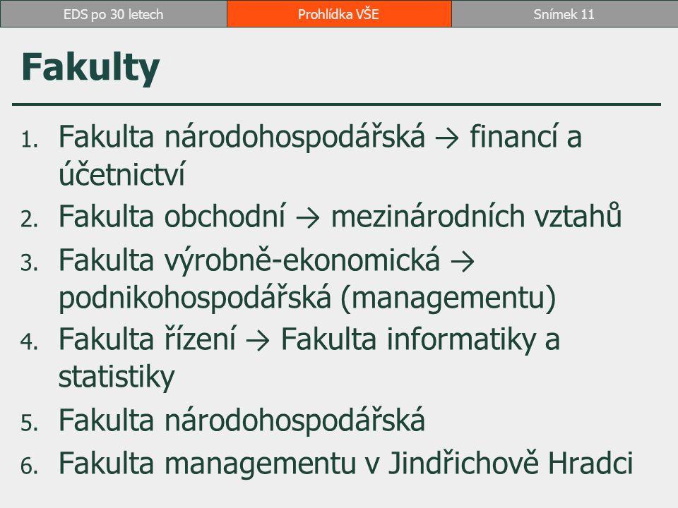 Fakulty 1.Fakulta národohospodářská → financí a účetnictví 2.