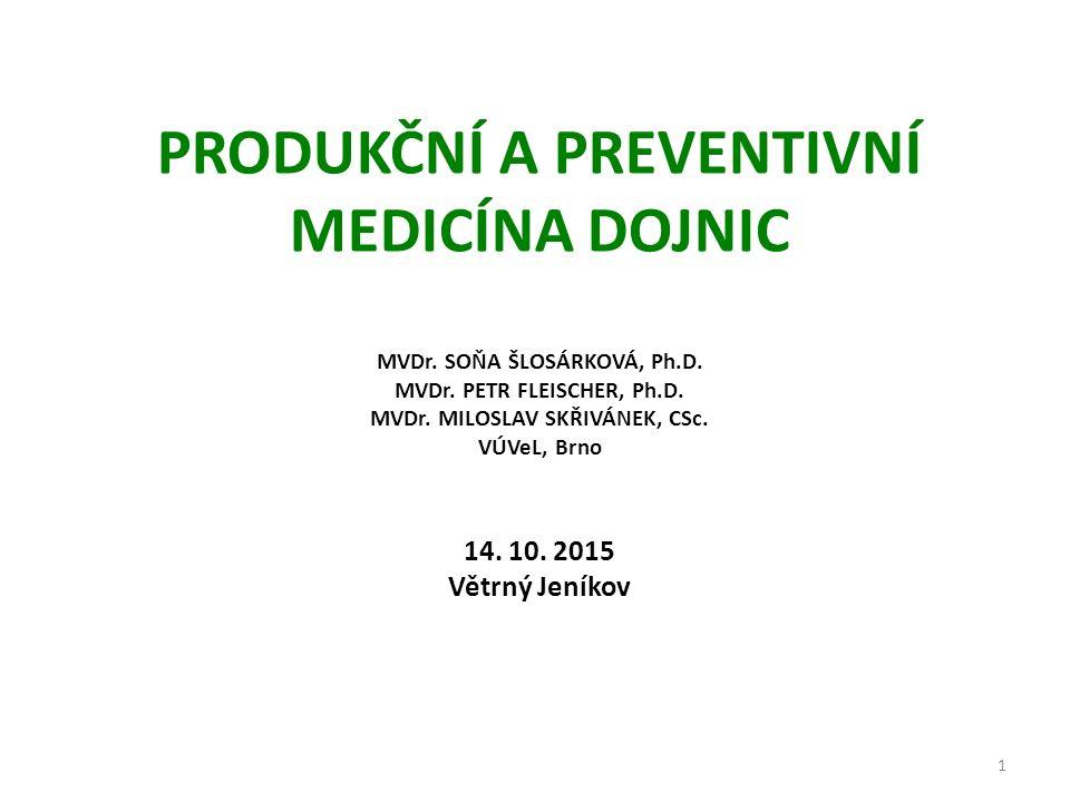 PRODUKČNÍ A PREVENTIVNÍ MEDICÍNA DOJNIC MVDr. SOŇA ŠLOSÁRKOVÁ, Ph.D.