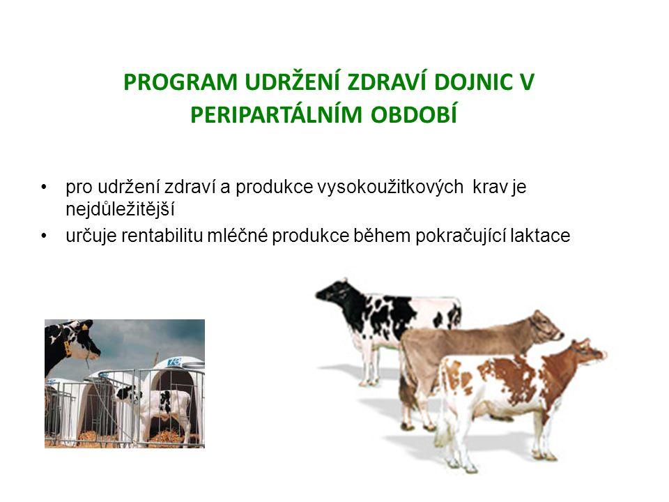 pro udržení zdraví a produkce vysokoužitkových krav je nejdůležitější určuje rentabilitu mléčné produkce během pokračující laktace PROGRAM UDRŽENÍ ZDRAVÍ DOJNIC V PERIPARTÁLNÍM OBDOBÍ