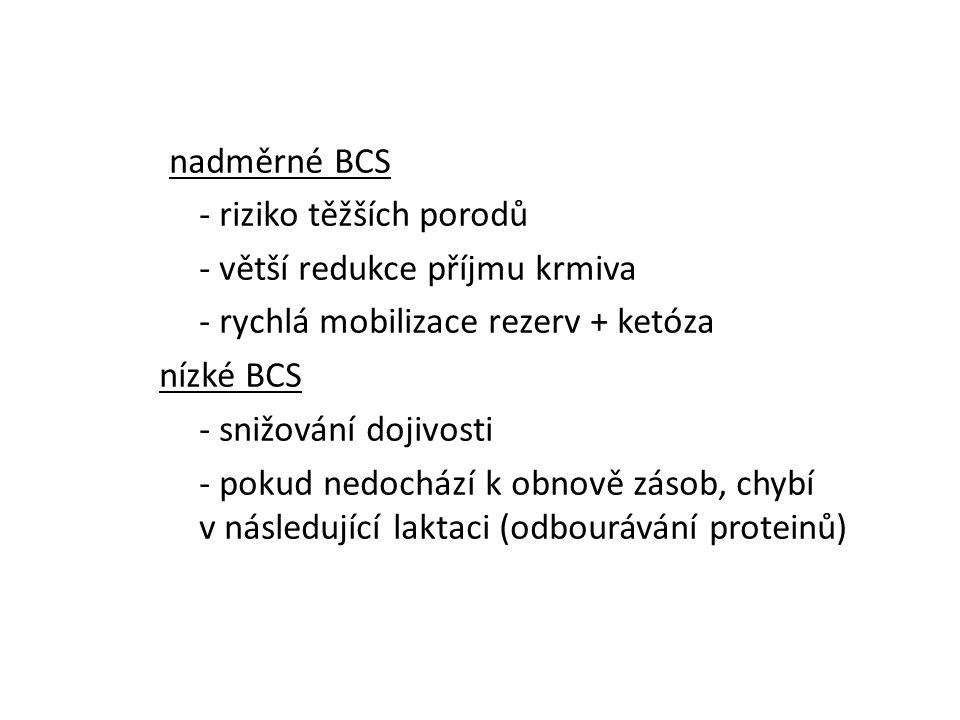 nadměrné BCS - riziko těžších porodů - větší redukce příjmu krmiva - rychlá mobilizace rezerv + ketóza nízké BCS - snižování dojivosti - pokud nedochází k obnově zásob, chybí v následující laktaci (odbourávání proteinů)