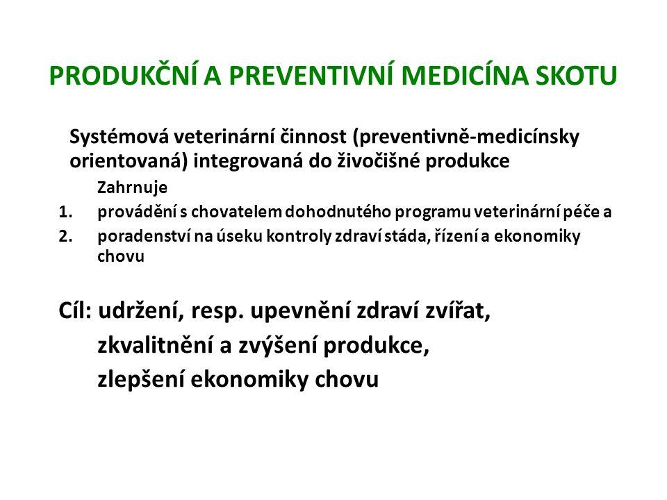 PRODUKČNÍ A PREVENTIVNÍ MEDICÍNA SKOTU Určitá forma prevence poruch zdraví zvířat byla zavedena v polovině 20.