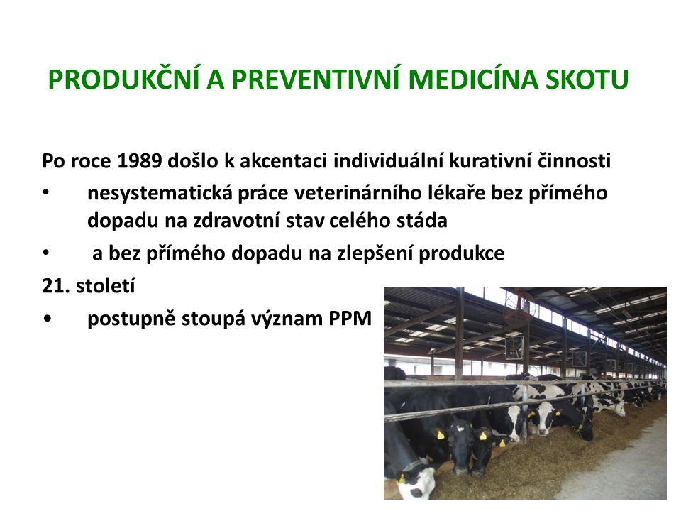 PRODUKČNÍ A PREVENTIVNÍ MEDICÍNA SKOTU Po roce 1989 došlo k akcentaci individuální kurativní činnosti nesystematická práce veterinárního lékaře bez přímého dopadu na zdravotní stav celého stáda a bez přímého dopadu na zlepšení produkce 21.