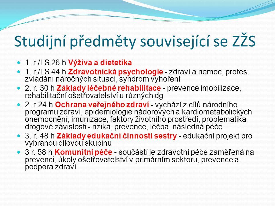 Studijní předměty související se ZŽS 1.r./LS 26 h Výživa a dietetika 1.