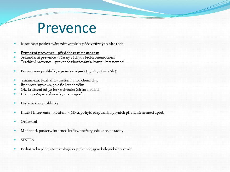 Prevence je součástí poskytování zdravotnické péče v různých oborech Primární prevence - předcházení nemocem Sekundární prevence - včasný záchyt a léčba onemocnění Terciární prevence – prevence zhoršování a komplikací nemocí Preventivní prohlídky v primární péči (vyhl.