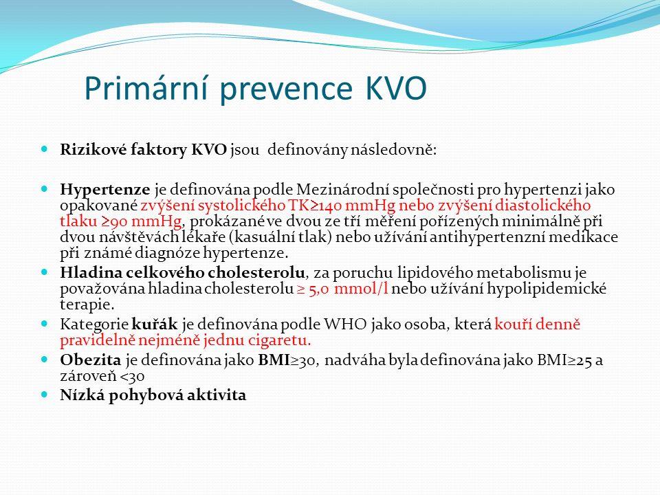 Primární prevence KVO Rizikové faktory KVO jsou definovány následovně: Hypertenze je definována podle Mezinárodní společnosti pro hypertenzi jako opakované zvýšení systolického TK  140 mmHg nebo zvýšení diastolického tlaku  90 mmHg, prokázané ve dvou ze tří měření pořízených minimálně při dvou návštěvách lékaře (kasuální tlak) nebo užívání antihypertenzní medikace při známé diagnóze hypertenze.