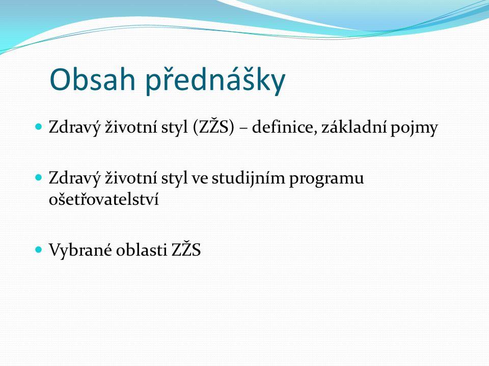 Obsah přednášky Zdravý životní styl (ZŽS) – definice, základní pojmy Zdravý životní styl ve studijním programu ošetřovatelství Vybrané oblasti ZŽS