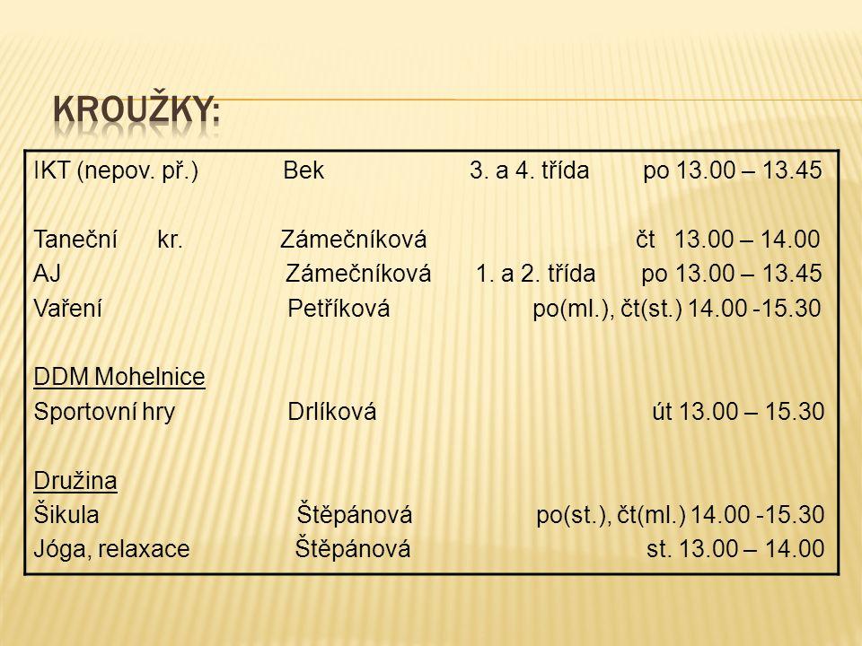 IKT (nepov. př.) Bek 3. a 4. třída po 13.00 – 13.45 Taneční kr.