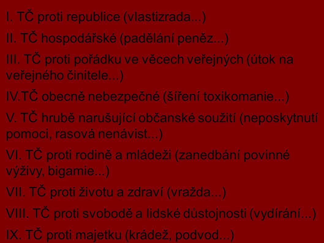 DRUHY TRESTNÝCH ČINŮ: I. TČ proti republice (vlastizrada...) II.