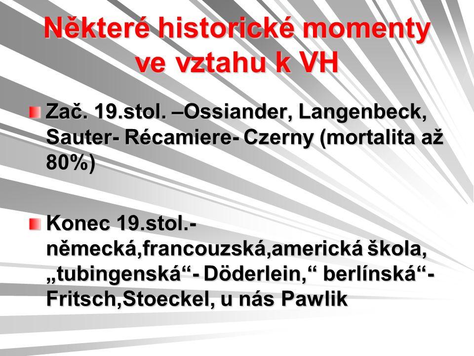 Některé historické momenty ve vztahu k VH Zač. 19.stol.