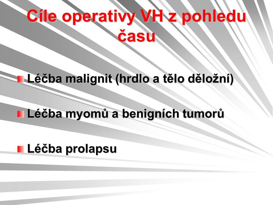 Cíle operativy VH z pohledu času Léčba malignit (hrdlo a tělo děložní) Léčba myomů a benigních tumorů Léčba prolapsu