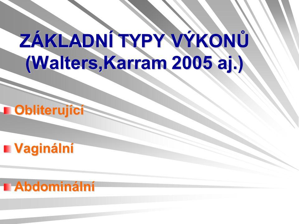 ZÁKLADNÍ TYPY VÝKONŮ (Walters,Karram 2005 aj.) ObliterujícíVaginálníAbdominální