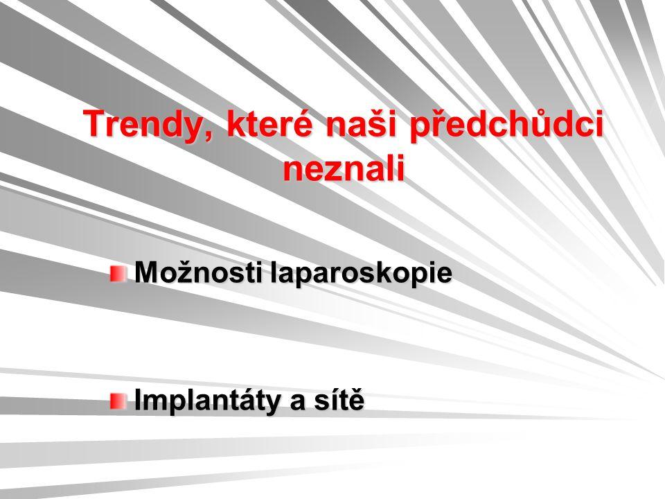 Trendy, které naši předchůdci neznali Možnosti laparoskopie Implantáty a sítě