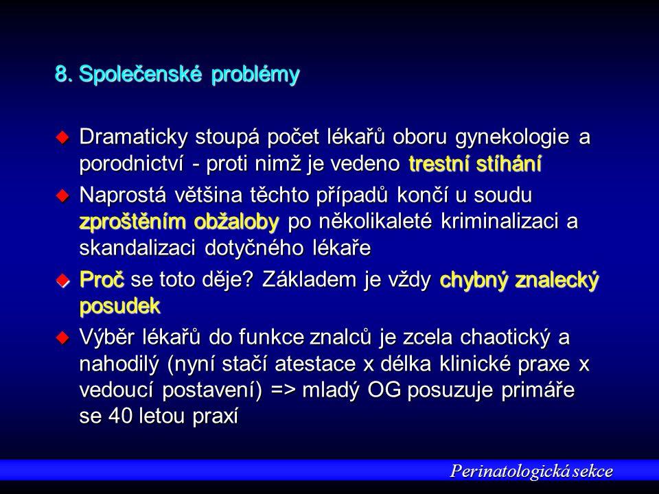 Perinatologická sekce 8. Společenské problémy u Dramaticky stoupá počet lékařů oboru gynekologie a porodnictví - proti nimž je vedeno trestní stíhání