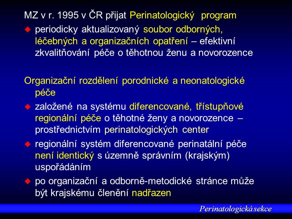 Perinatologická sekce MZ v r. 1995 v ČR přijat Perinatologický program u u periodicky aktualizovaný soubor odborných, léčebných a organizačních opatře