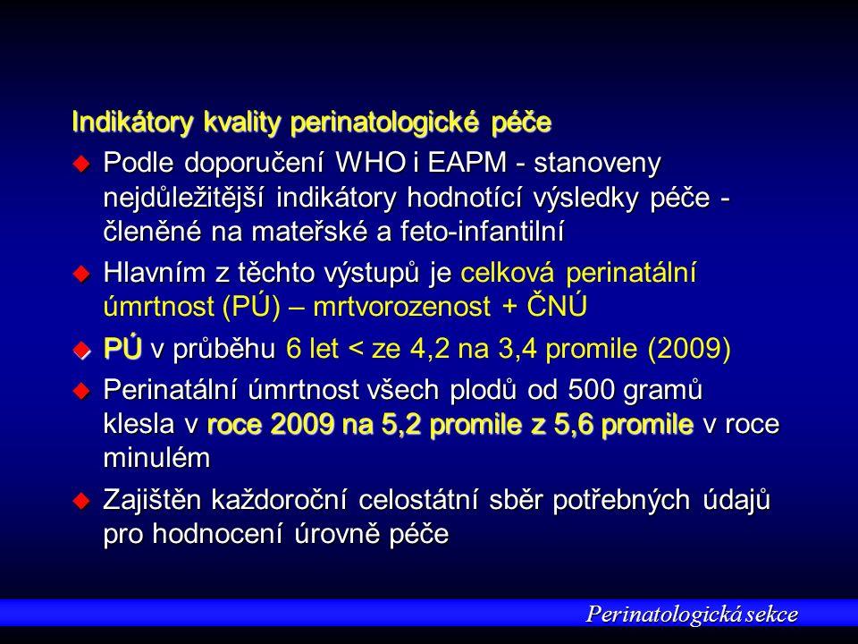 Perinatologická sekce Indikátory kvality perinatologické péče u Podle doporučení WHO i EAPM - stanoveny nejdůležitější indikátory hodnotící výsledky péče - členěné na mateřské a feto-infantilní u Hlavním z těchto výstupů je u Hlavním z těchto výstupů je celková perinatální úmrtnost (PÚ) – mrtvorozenost + ČNÚ u PÚ v průběhu u PÚ v průběhu 6 let < ze 4,2 na 3,4 promile (2009) u Perinatální úmrtnost všech plodů od 500 gramů klesla v roce 2009 na 5,2 promile z 5,6 promile v roce minulém u Zajištěn každoroční celostátní sběr potřebných údajů pro hodnocení úrovně péče