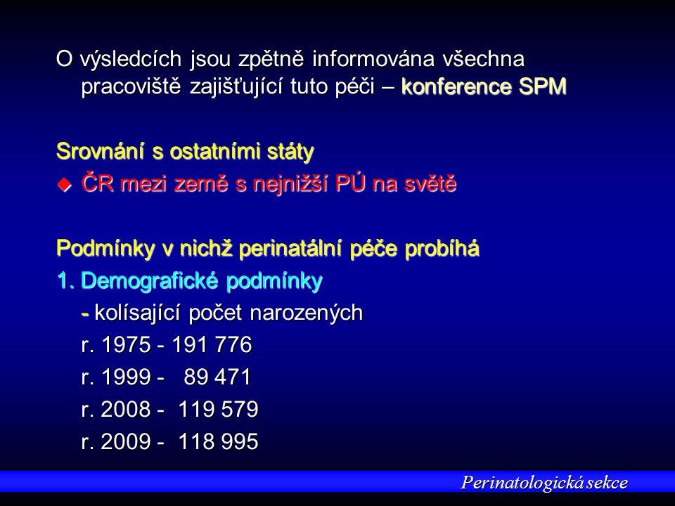 Perinatologická sekce O výsledcích jsou zpětně informována všechna pracoviště zajišťující tuto péči – konference SPM Srovnání s ostatními státy u ČR mezi země s nejnižší PÚ na světě Podmínky v nichž perinatální péče probíhá 1.
