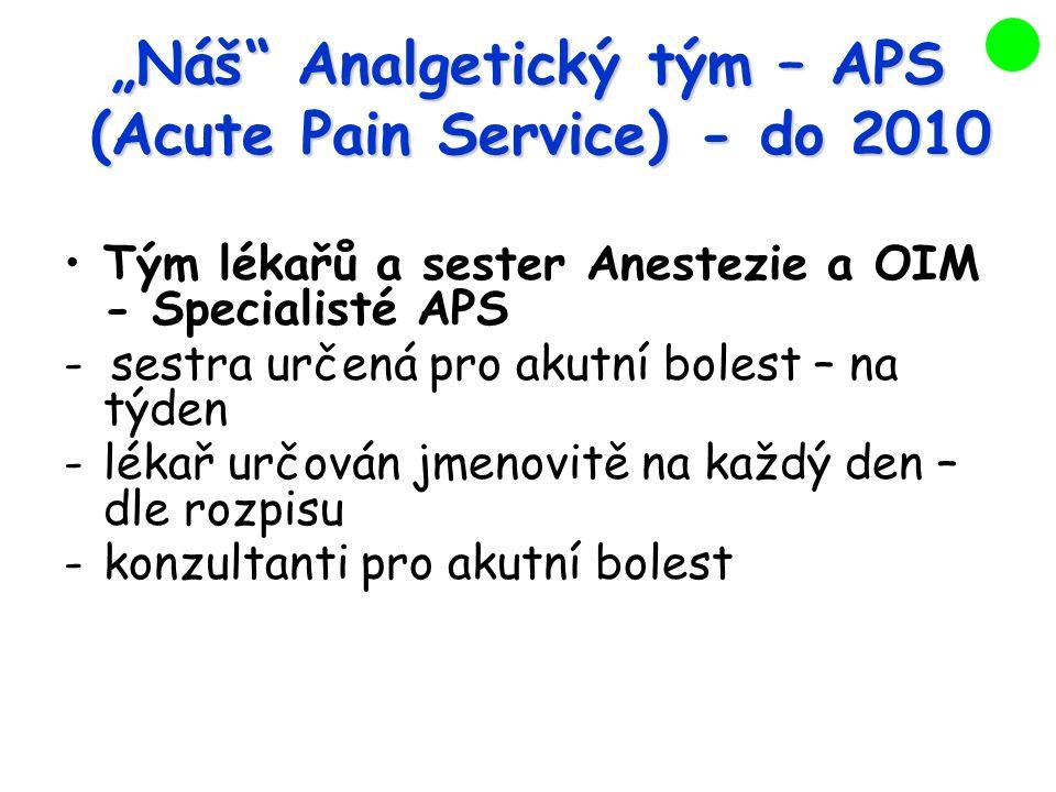 """""""Náš Analgetický tým – APS (Acute Pain Service)- do 2010 Tým lékařů a sester Anestezie a OIM - Specialisté APS - sestra určená pro akutní bolest – na týden -lékař určován jmenovitě na každý den – dle rozpisu -konzultanti pro akutní bolest"""