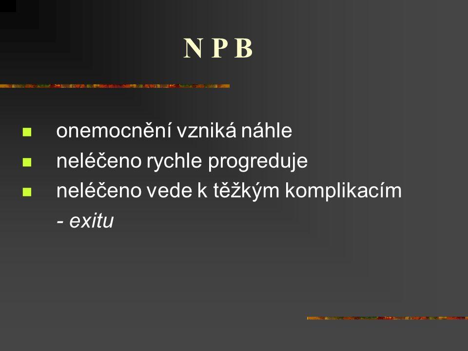 onemocnění vzniká náhle neléčeno rychle progreduje neléčeno vede k těžkým komplikacím - exitu N P B