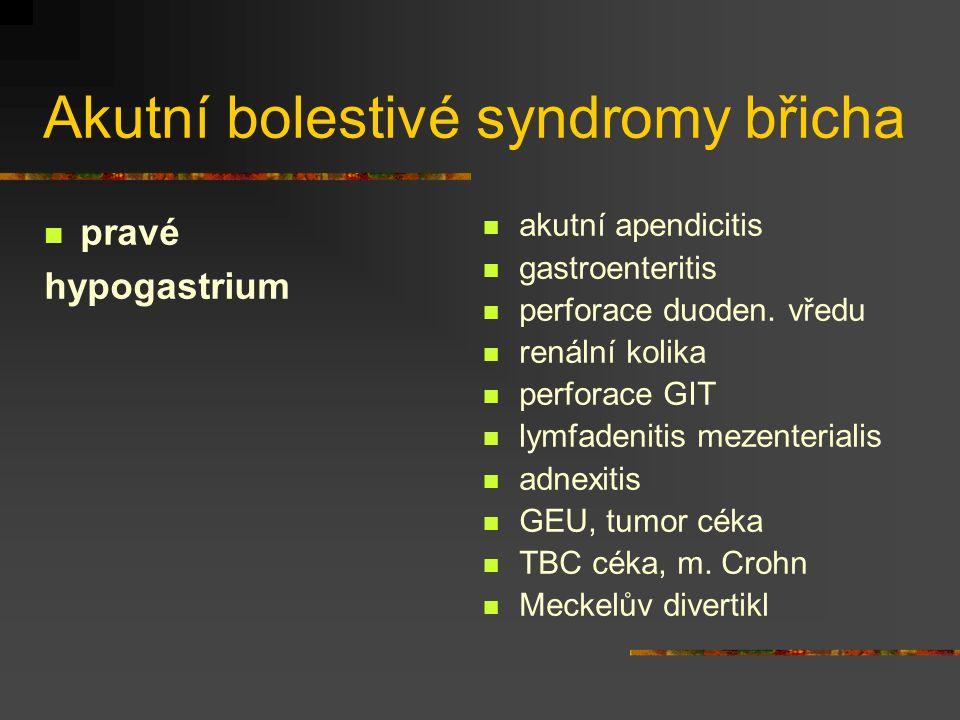 Akutní bolestivé syndromy břicha pravé hypogastrium akutní apendicitis gastroenteritis perforace duoden. vředu renální kolika perforace GIT lymfadenit