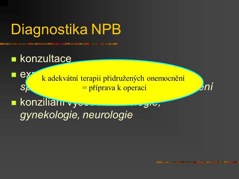 konzultace expektace - předání nálezu u lůžka, společné vyšetření, opakovaná vyšetření konziliání vyšetření - urologie, gynekologie, neurologie Diagno