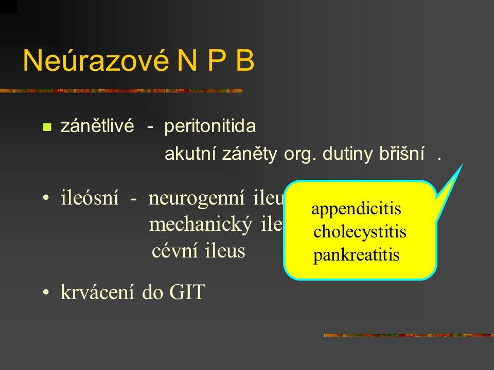 Neúrazové N P B zánětlivé - peritonitida akutní záněty org. dutiny břišní. ileósní - neurogenní ileus mechanický ileus cévní ileus krvácení do GIT app