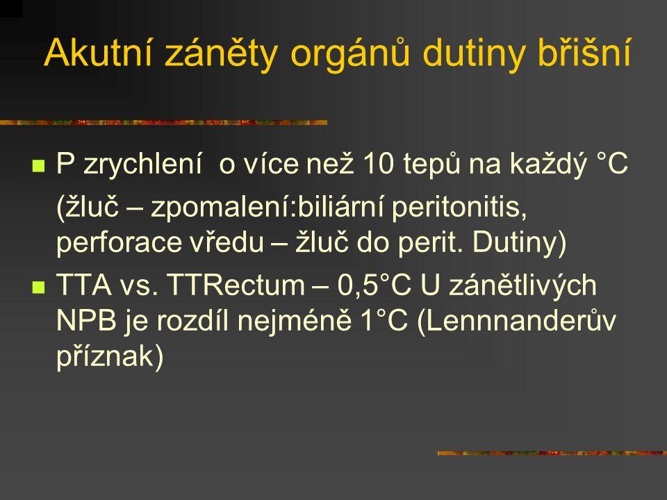 Akutní záněty orgánů dutiny břišní P zrychlení o více než 10 tepů na každý °C (žluč – zpomalení:biliární peritonitis, perforace vředu – žluč do perit.