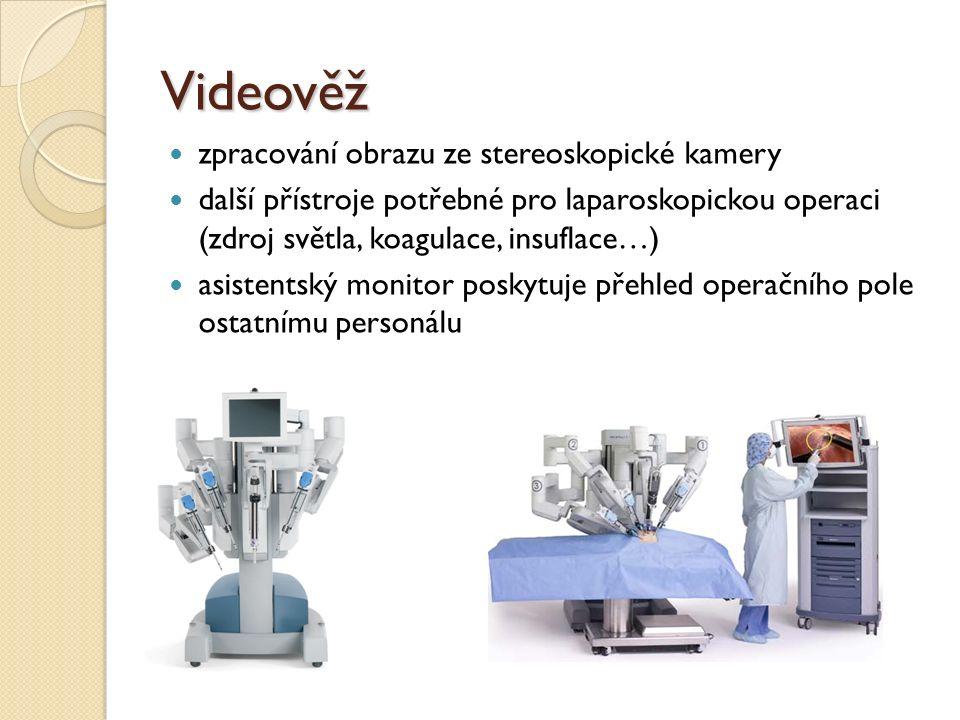Videověž zpracování obrazu ze stereoskopické kamery další přístroje potřebné pro laparoskopickou operaci (zdroj světla, koagulace, insuflace…) asistentský monitor poskytuje přehled operačního pole ostatnímu personálu