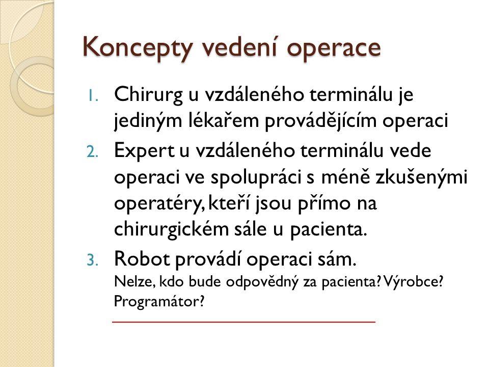 Koncepty vedení operace 1. Chirurg u vzdáleného terminálu je jediným lékařem provádějícím operaci 2. Expert u vzdáleného terminálu vede operaci ve spo