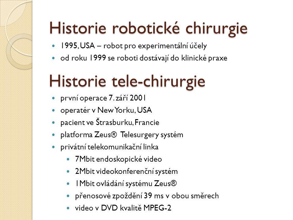 Historie robotické chirurgie 1995, USA – robot pro experimentální účely od roku 1999 se roboti dostávají do klinické praxe Historie tele-chirurgie prv